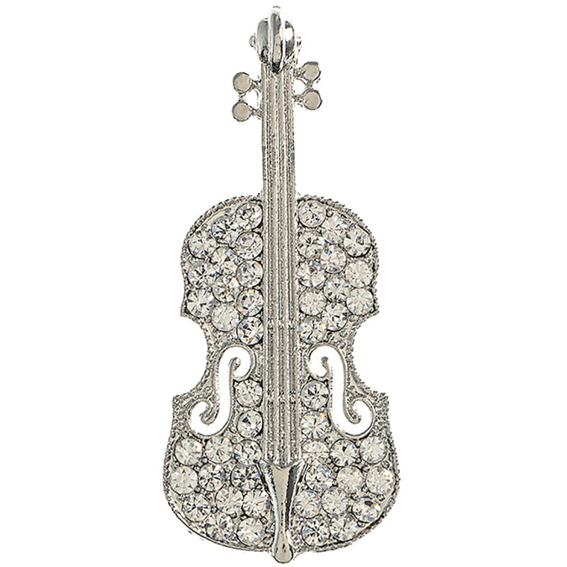 Gorgeous Sparkle Classic Music Cello Violin Charm Brooch Pin BH223 Silver