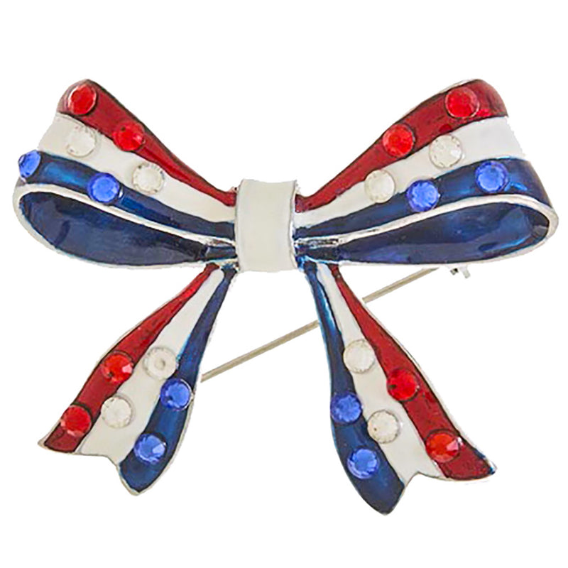 Patriotic Jewelry American Flag Crystal Rhinestone Ribbon Bow Brooch BH224 SV