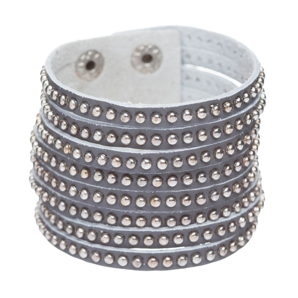 Trendy Metal Studs Style Genuine Leather Fashion Wide Wrap Bracelet Silver Gray