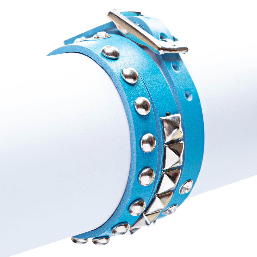 Blue 3-Effect Stud Italian Calf Leather Wrap Bracelet