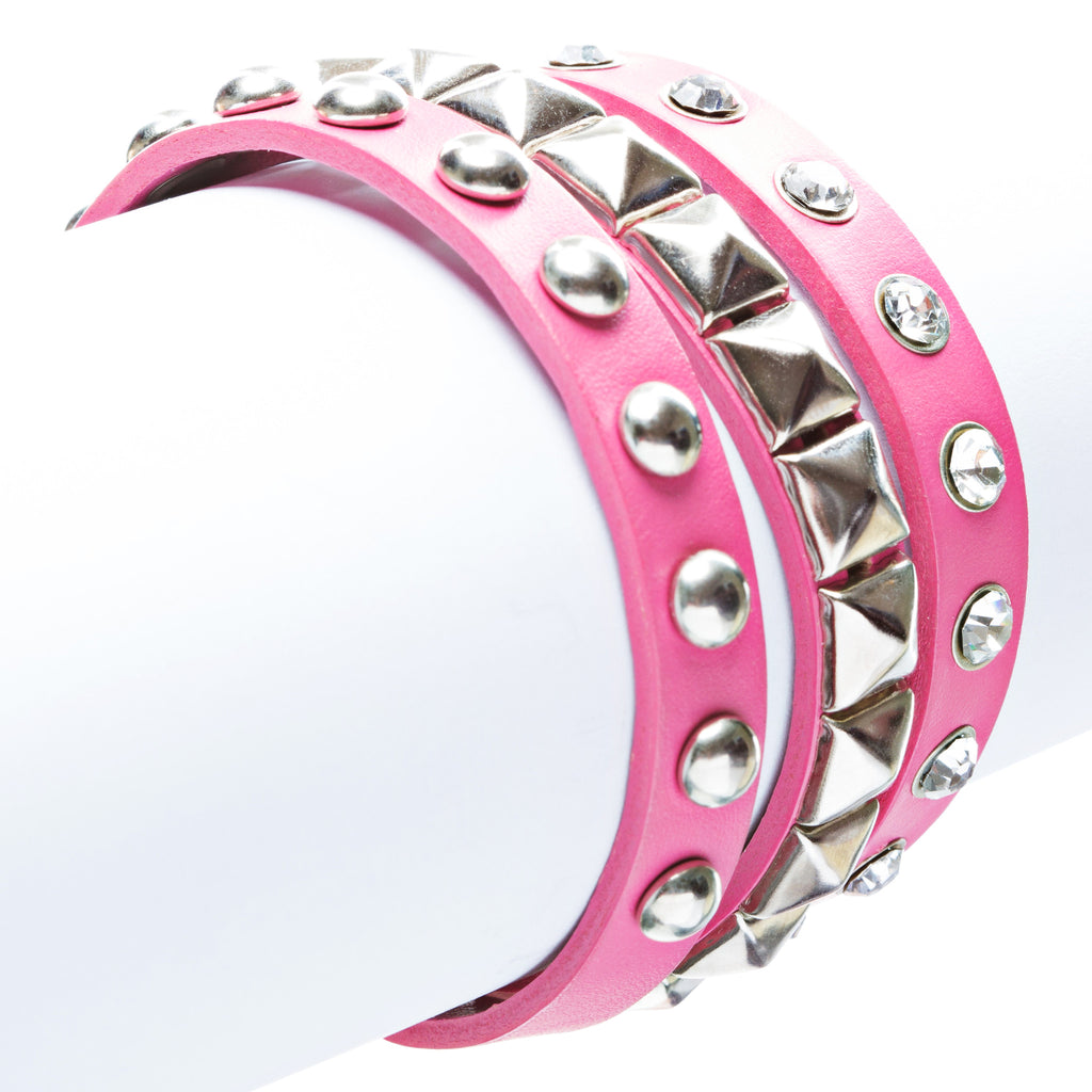 Fuchsia 3-Effect Stud Italian Calf Leather Wrap Bracelet