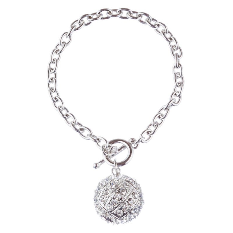 "Sport Volleyball Crystal Rhinestone 7"" Toggle Fashion Bracelet Silver Clear"