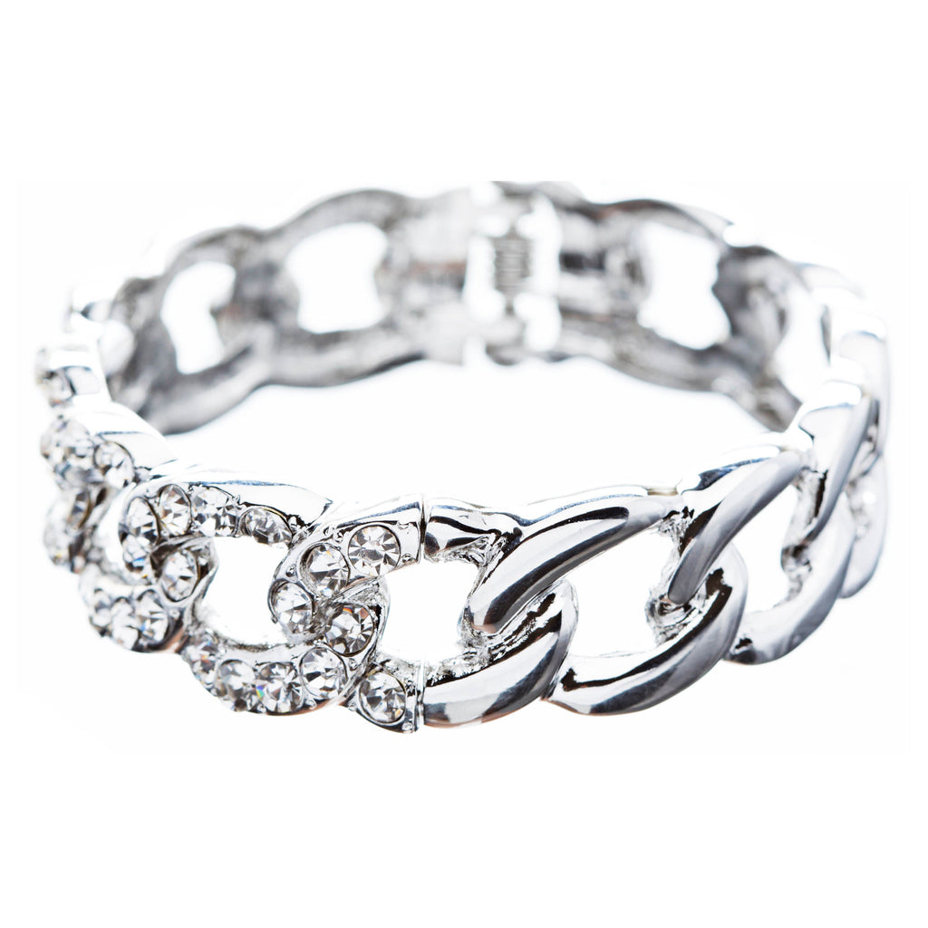 Bridal Wedding Jewelry Crystal Rhinestone Classic Oval Linked Stretch Bracelet