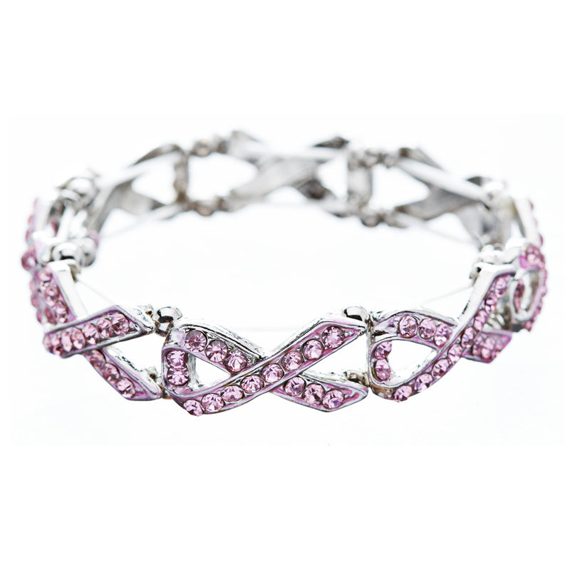 Pink Ribbon Breast Cancer Awareness Jewelry Crystal Charm Stretch Bracelet B374