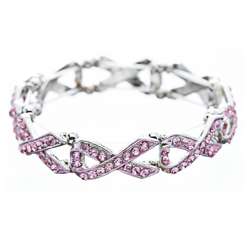 Pink Ribbon Breast Cancer Awareness Jewelry Crystal Charm Link Stretch Bracelet