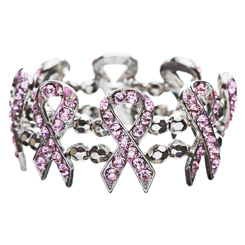 Pink Ribbon Breast Cancer Awareness Jewelry Crystal Charm Bead Link Bracelet
