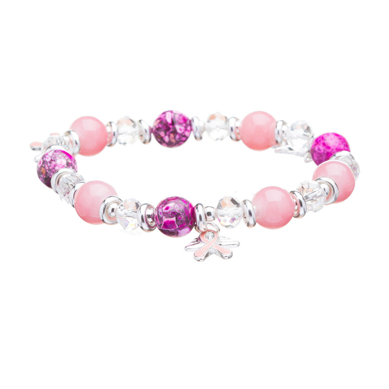 Pink Ribbon Breast Cancer Awareness Jewelry Crystal Beads Wing Stretch Bracelet
