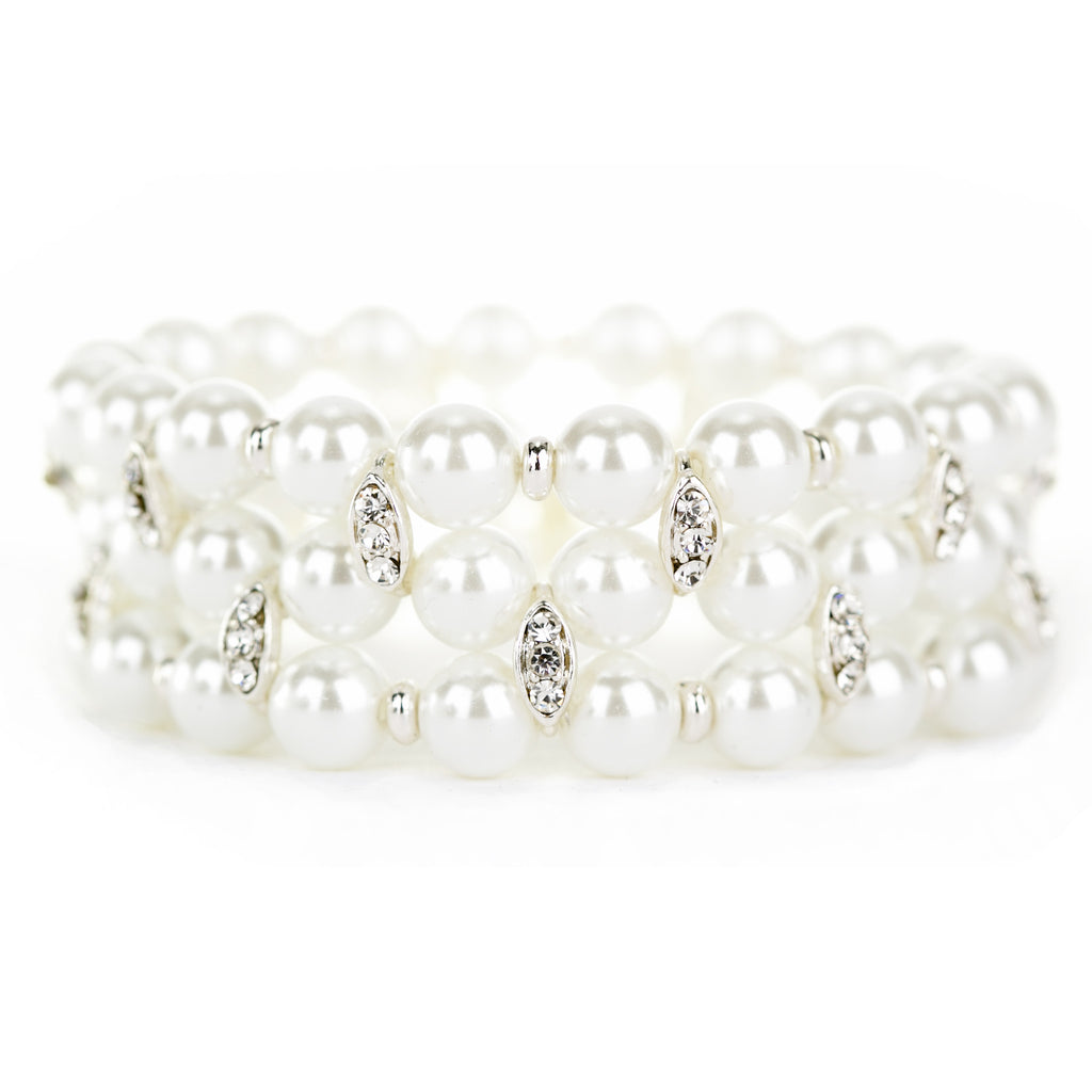 Bridal Wedding Prom Jewelry Crystal Pearl Elegant Stretch Bracelet B538 SV