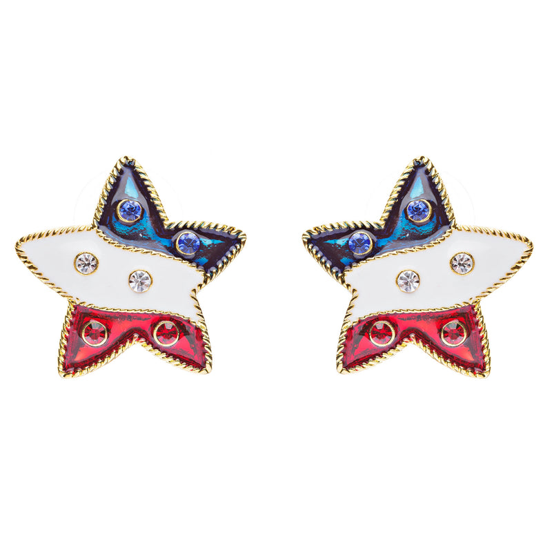 Patriotic Jewelry American Flag Cable Edged Star Stud Earrings Gold E338