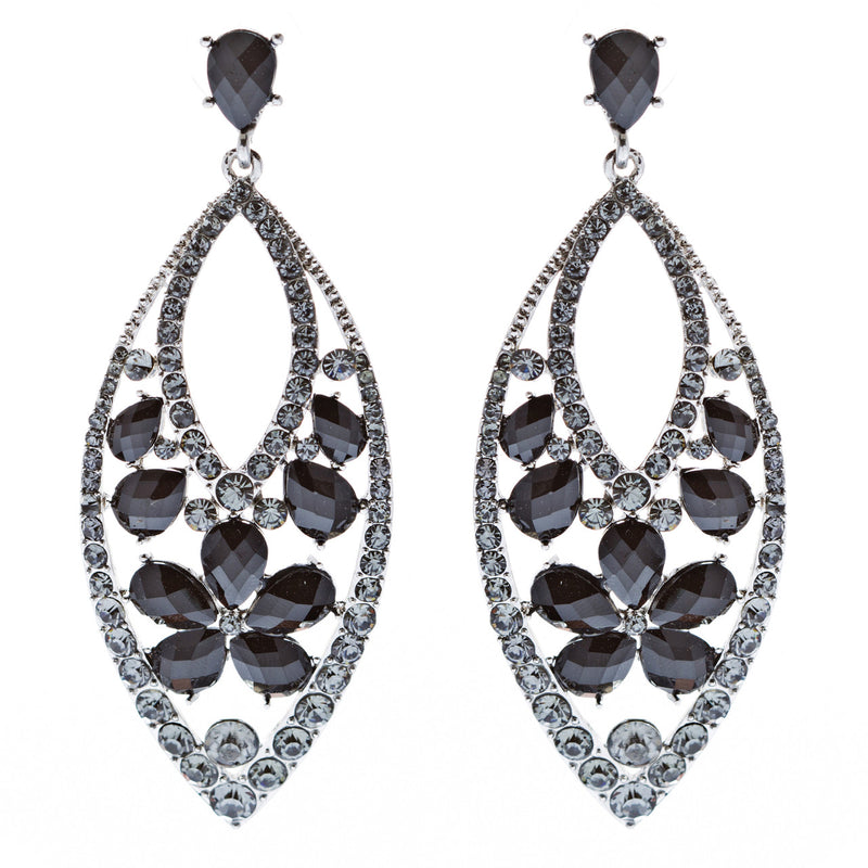 Fashion Stunning Crystal Floral Navette Earrings Black