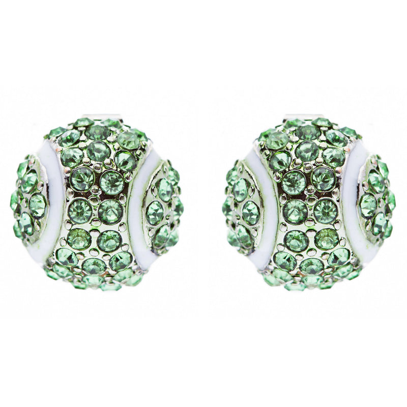Sport Tennis Crystal Rhinestone 14mm Drop Stud Fashion Earrings Silver Green