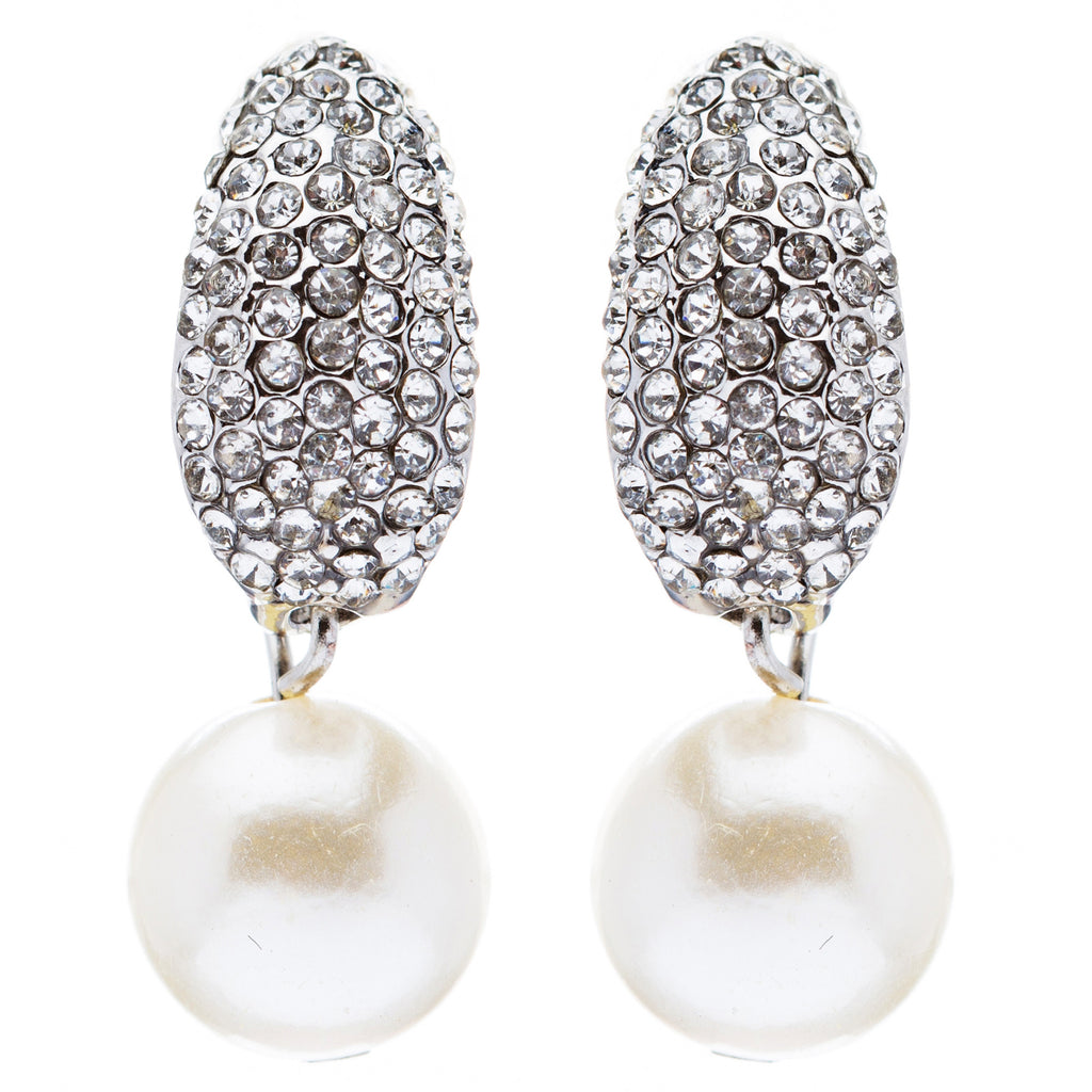Bridal Wedding Crystal Rhinestone Pearl Drop Dangle Earrings ER393 Silver White