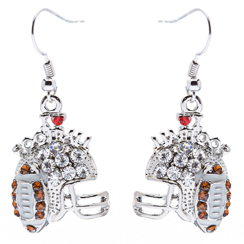 Sport Jewelry I Love Football Crystal Rhinestone Drop Dangle Earrings Silver