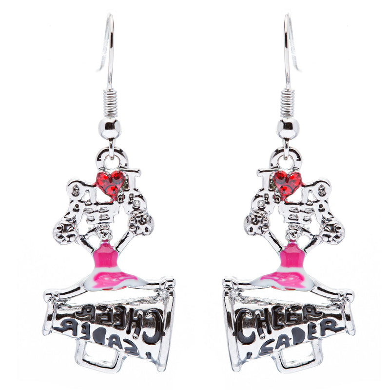 Sport Jewelry I Love Cheerleader Crystal Rhinestone Drop Dangle Earrings Pink