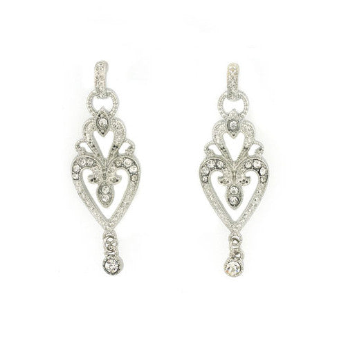 Bridal Wedding Jewelry Crystal Rhinestone Vintage Dangle Charm Earrings Silver