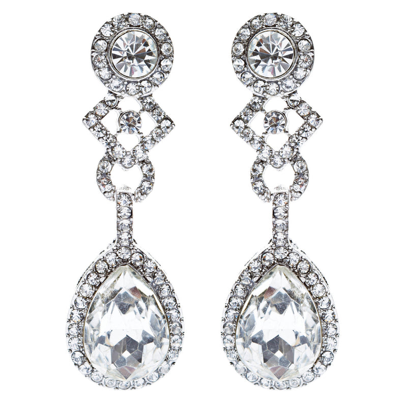 Bridal Wedding Jewelry Elegant Classic Teardrop Dangle Fashion Earrings Silver