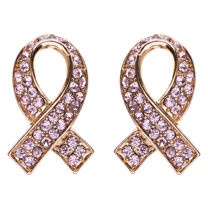 Pink Ribbon Breast Cancer Awareness Jewelry Crystal Rhinestone Earrings E608