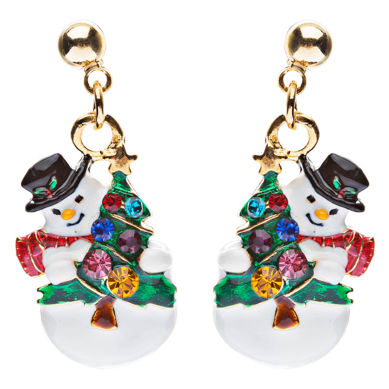 Christmas Jewelry Crystal Rhinestone Snowman Tree Scarf Dangle Earrings E636