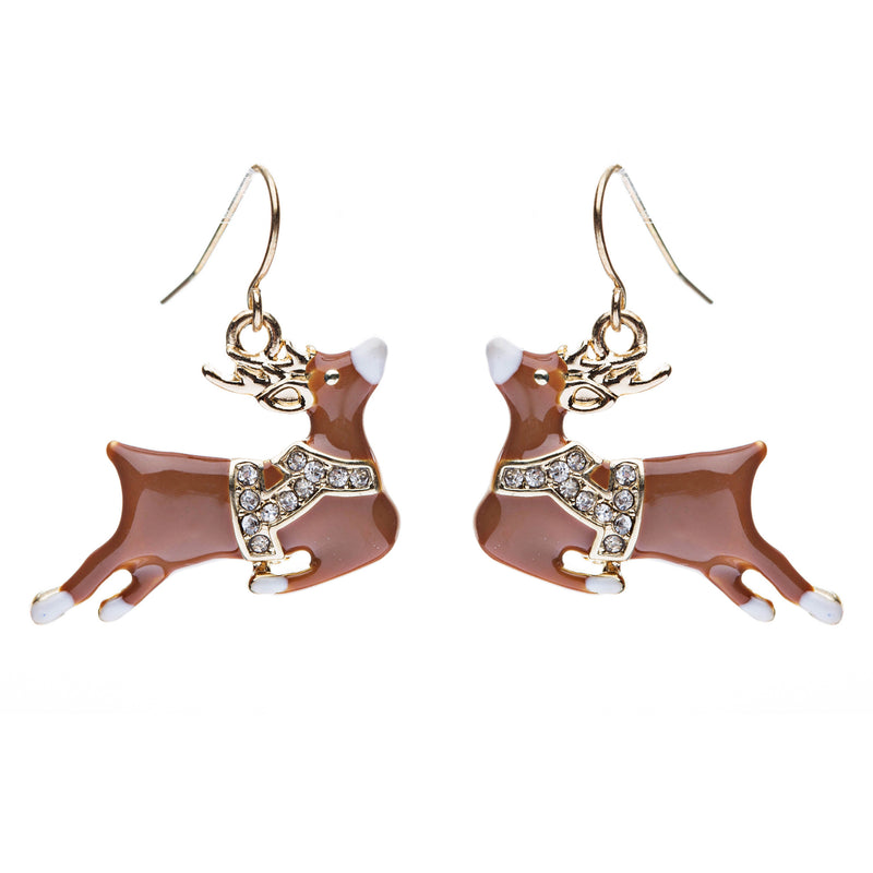 Christmas Jewelry Crystal Rhinestone Adorable Reindeer Dangle Earring E638