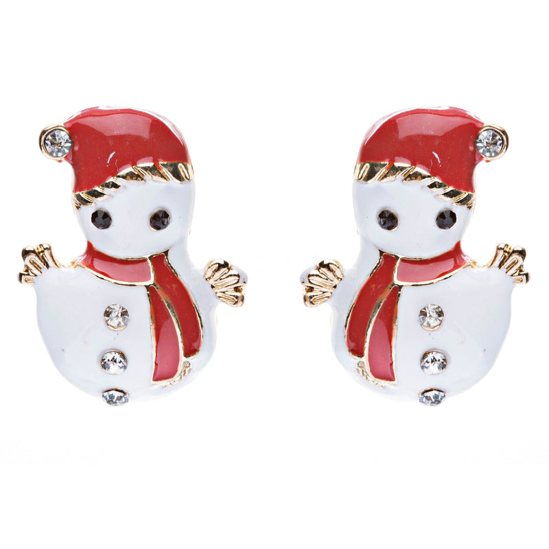 Christmas Jewelry Crystal Rhinestone Cute Adorable Snowman Earrings E642