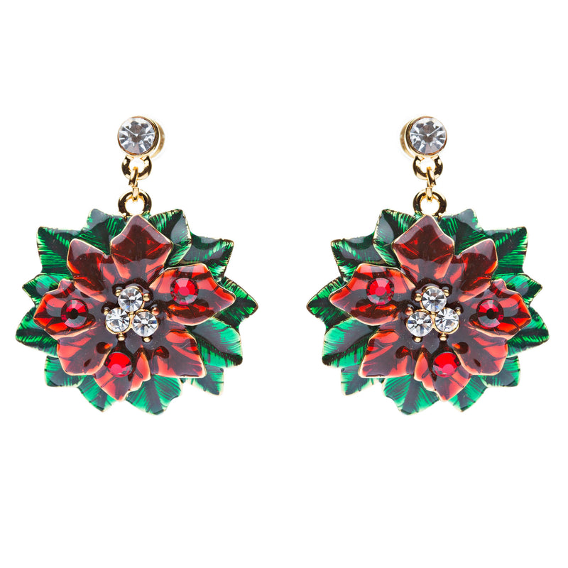 Christmas Jewelry Crystal Rhinestone Beautiful Mistletoe Charm Earrings E645