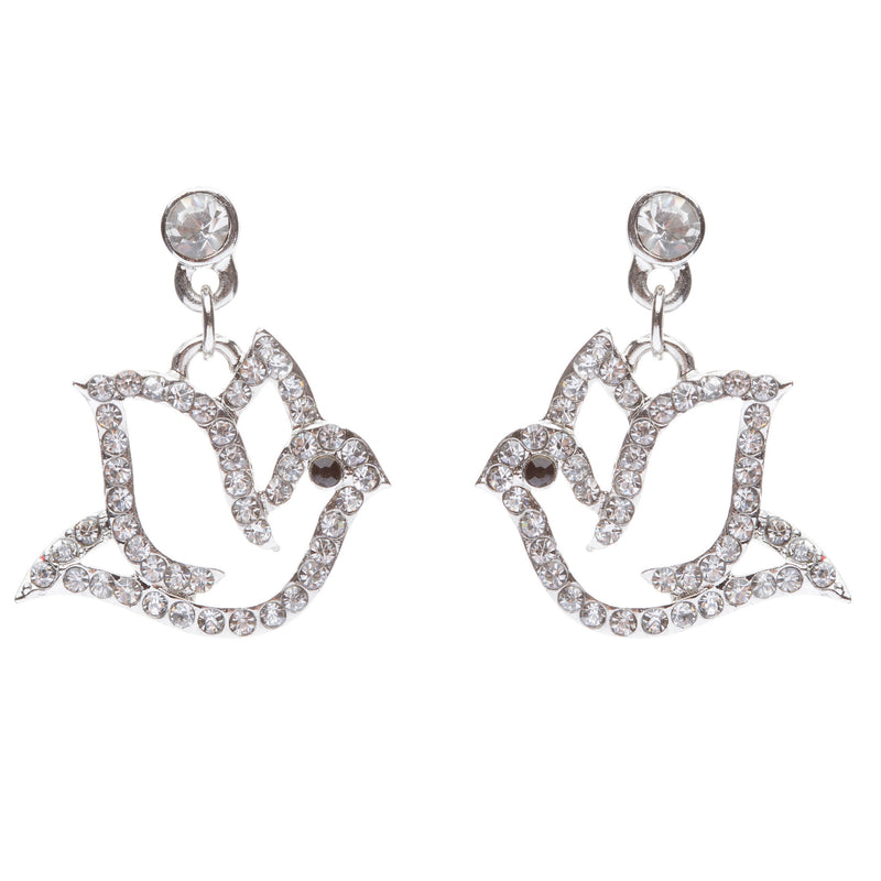 Christmas Jewelry Crystal Rhinestone Beautiful Dazzle Dove Dangle Earring E648