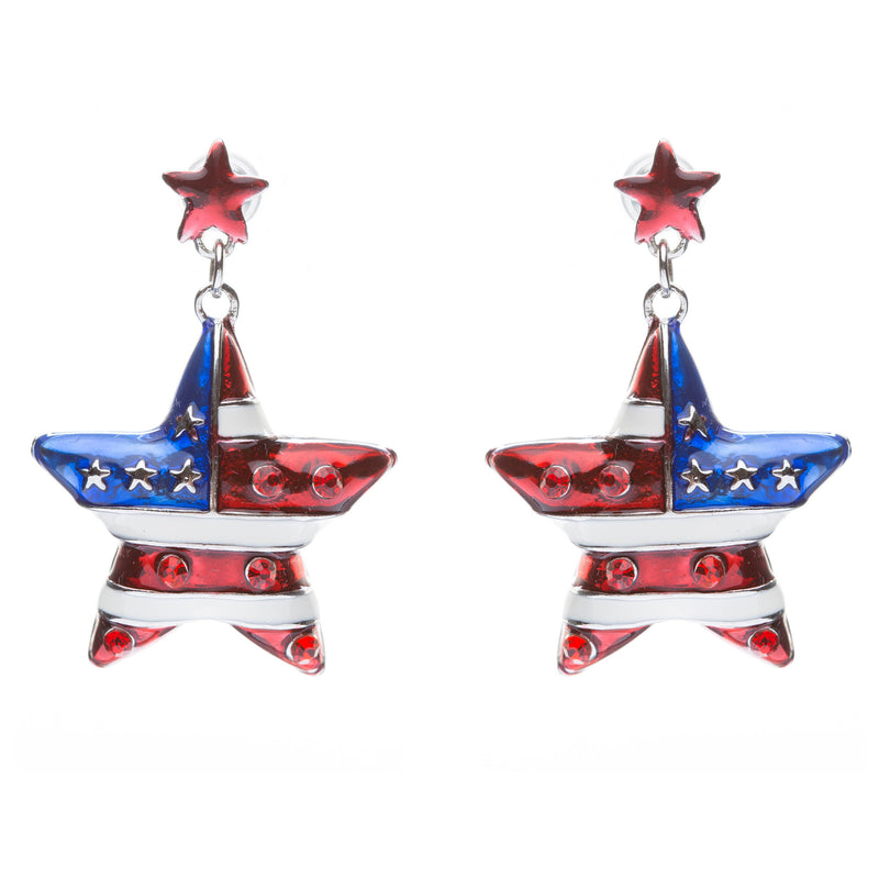 Patriotic Jewelry Crystal Rhinestone American Flag Stars Stripe Earrings E649