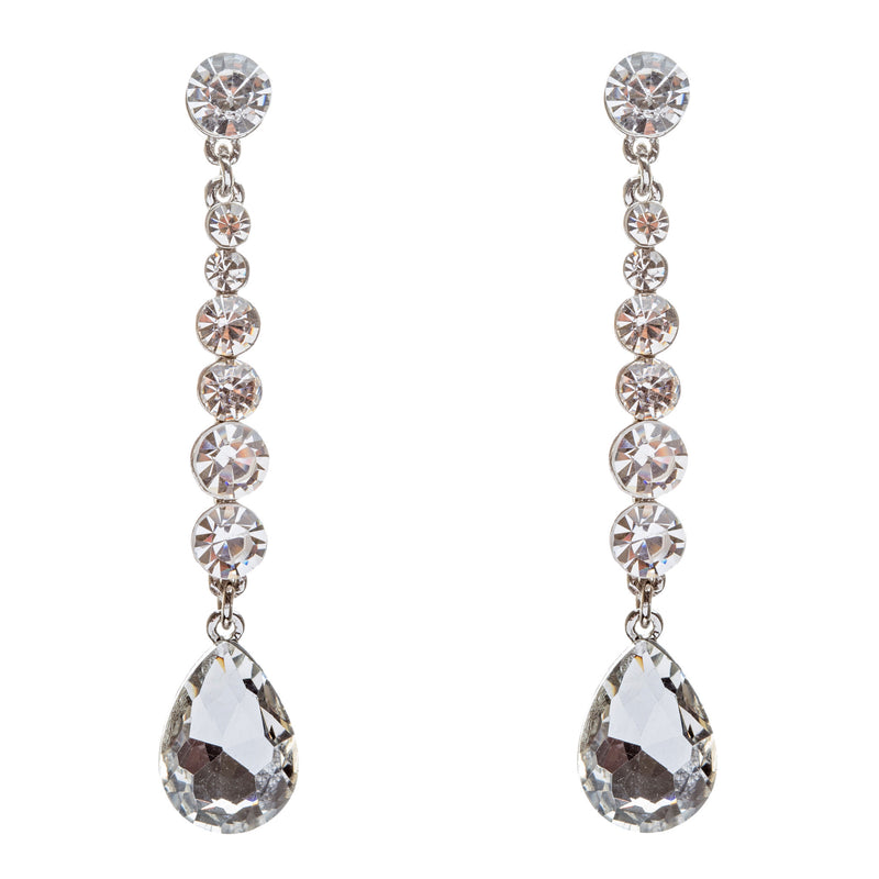 Bridal Wedding Jewelry Crystal Rhinestone Teardrop Linear Elegant Earring E681SV