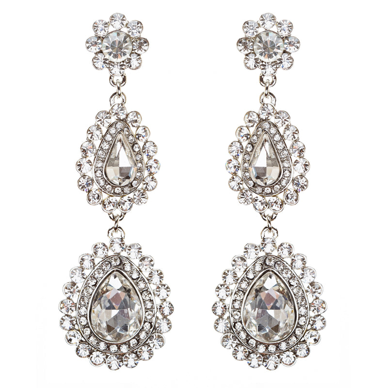 Bridal Wedding Prom Jewelry Crystal Rhinestone Gorgeous Teardrop Earrings E704