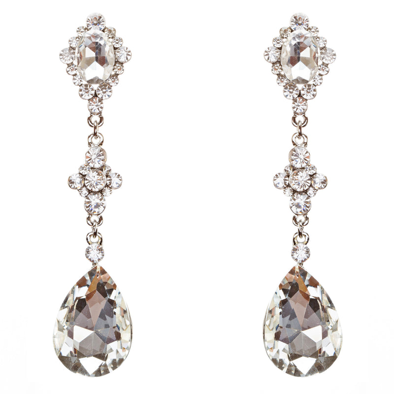 Bridal Wedding Jewelry Crystal Rhinestone Charming Tear Drop Earrings E705 SV