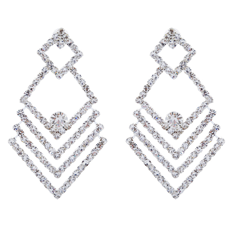 Bridal Wedding Jewelry Crystal Rhinestone Chic Design Earrings E1029 Silver
