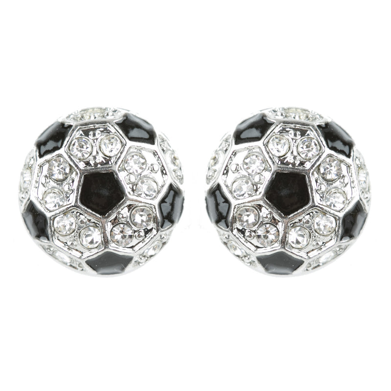Sport Soccer Crystal Rhinestone Stud Post Fashion Earrings Small E1200 Silver
