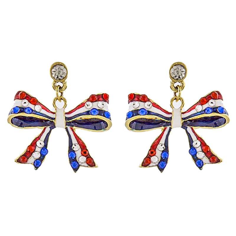 Patriotic Jewelry American Flag Ribbon Bow Crystal Dangle Earrings E1210 Gold