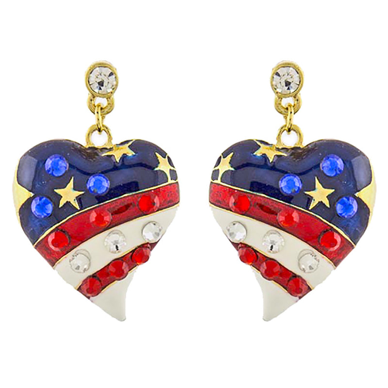 Patriotic Jewelry American Flag Curved Heart Crystal Dangle Earrings E1211 Gold