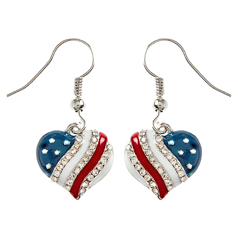 Patriotic Jewelry American Flag Crystal Rhinestone Heart Dangle Earrings E1214