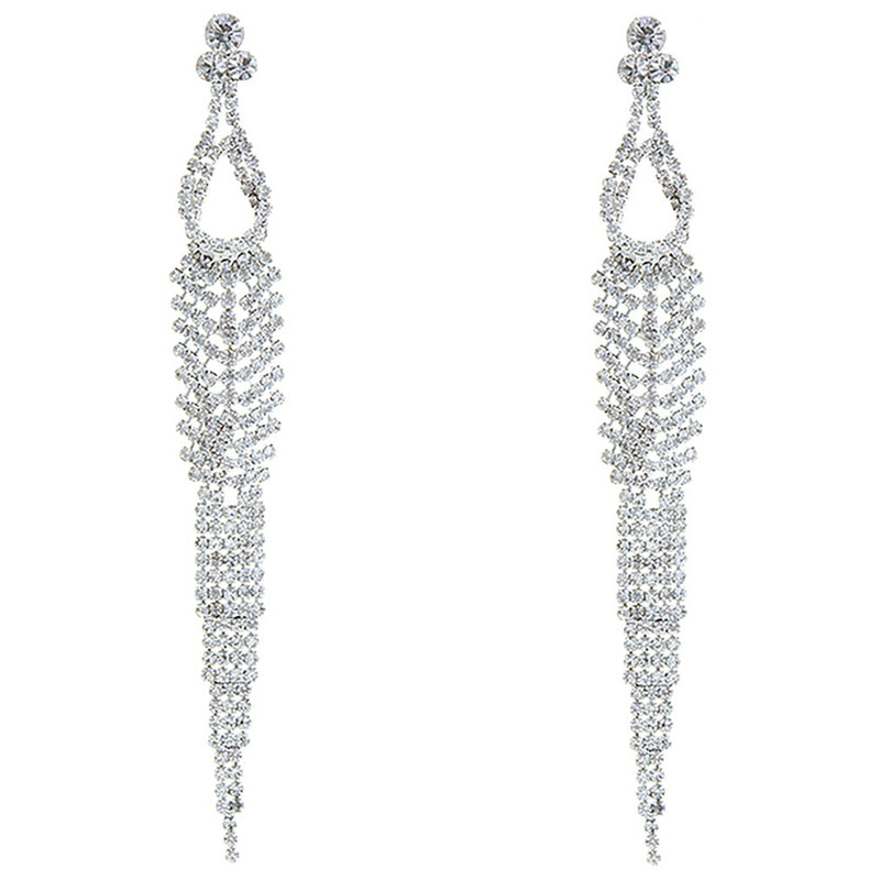 Bridal Wedding Prom Jewelry Chic Crystal Rhinestone Long Dangle Earrings E1218