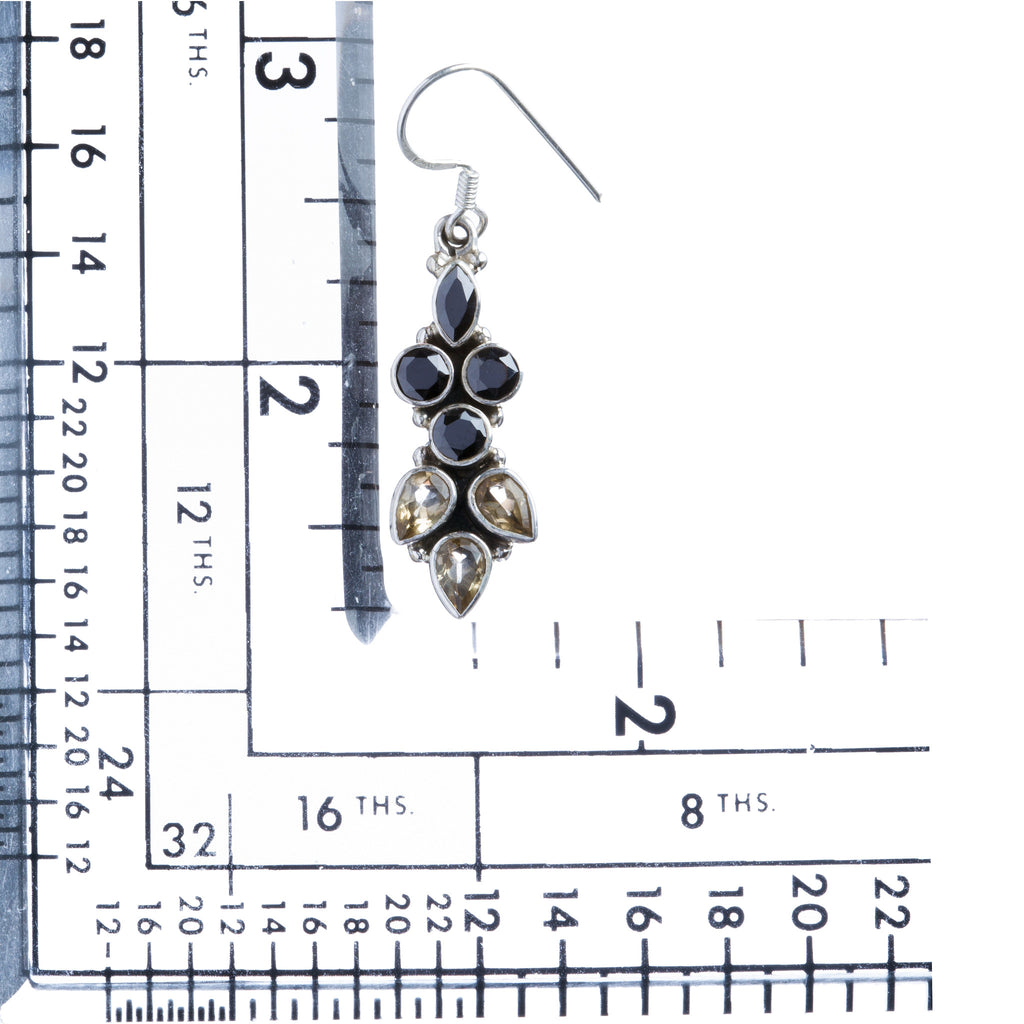925 Sterling Silver Gemstones Natural Onyx Citrine Dangle Earrings FJSE2145