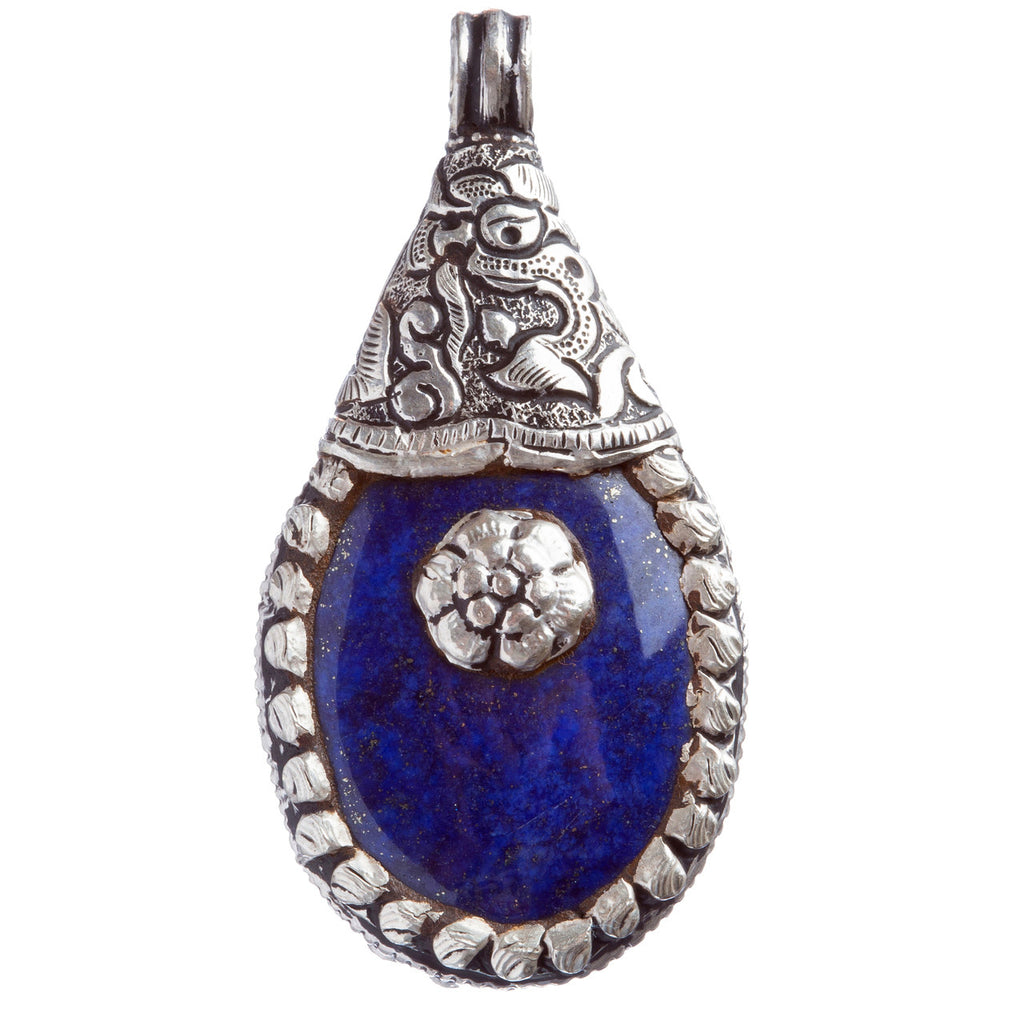 Sterling Silver Natural Gemstones Lapis Pendant FJSVP2063