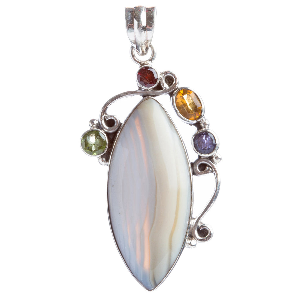 925 Sterling Silver Natural Gemstones Agate Multigems Pendant FJSVP2103