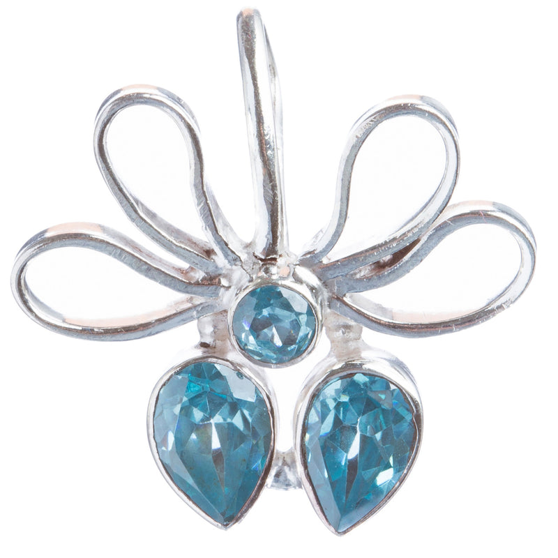 925 Sterling Silver Natural Gemstones Blue Topaz Pendant FJSVP2104