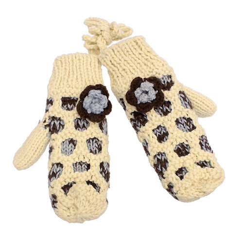 Hand Knitted Mitten with Shoulder Strap Fleece Liner Brown Gray Flower Beige