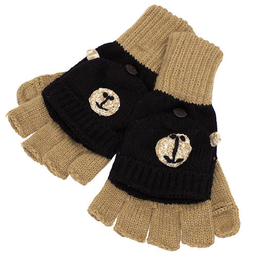 Knitted Fun 3D Animal Soft Fingerless Mittens Gloves Camel Black Bear