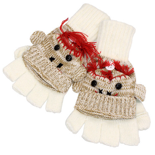 Knitted Fun 3D Animal Soft Fingerless Mittens Gloves Smoke Monkey