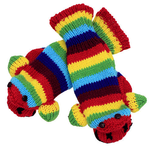 Knitted Fun 3D Animal Soft Mittens Gloves Stripe Monkey