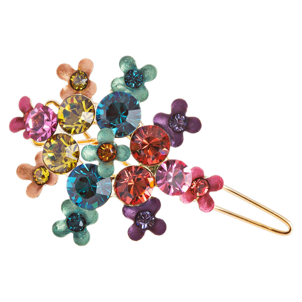 Austrian Crystal Rhinestone Fashion Jewerly Small Hair Clip Gold Multi-Color