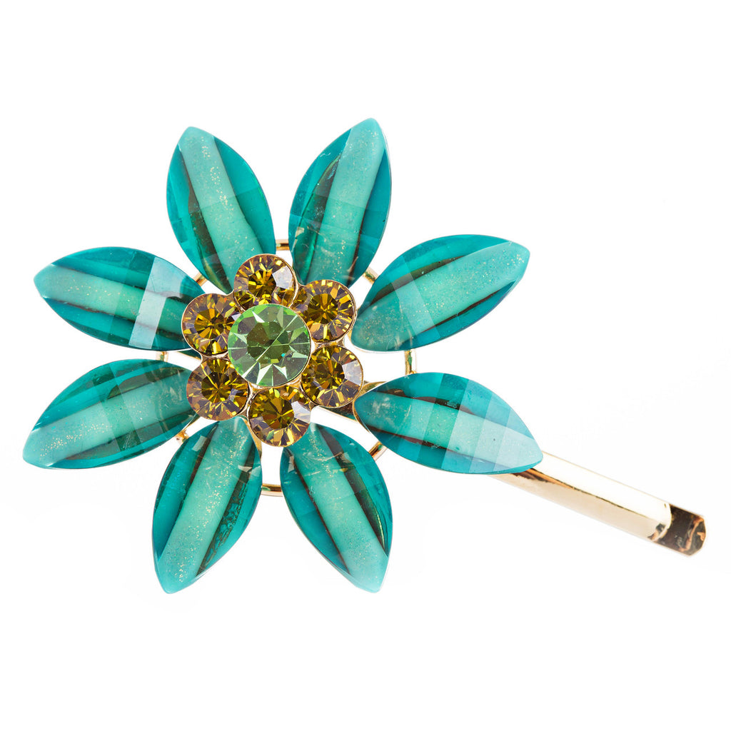 Austrian Crystal Rhinestone Fashion Jewerly Flower Hair Clip Gold Aqua Blue