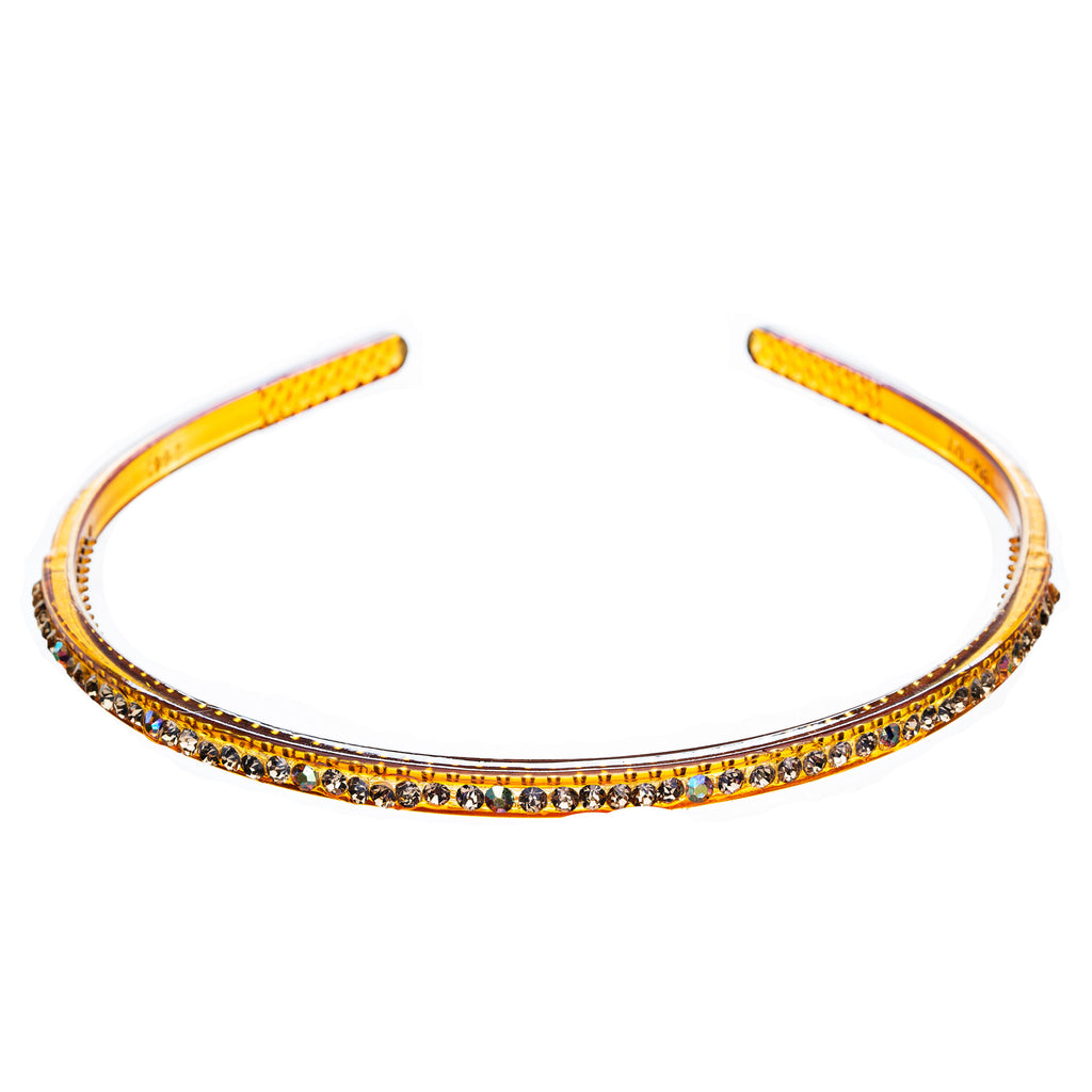 Fashion Sparkle Crystal Rhinestone Simple Linear Teeth Headband Gold Brown