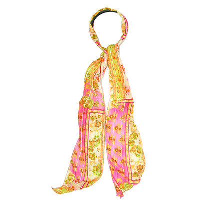Fashion Scarf Look Headband Chiffon Flower Yellow Pink