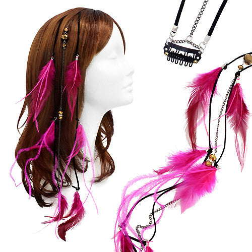 Feather Beaded Hair Extension Mini Hair Clip Comb Leather Cord Fuchsia Pink