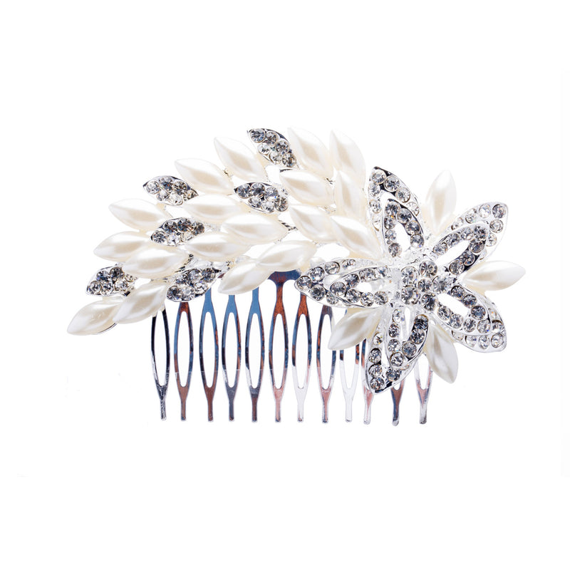 Bridal Wedding Jewelry Crystal Rhinestone Luxurious Pearl Floral Hair Comb Pin